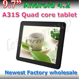 Wholesale 9 inch A31S Quad Core Tablet PC Bluetooth android Dual camera ARM Cortex A7 GB GB External G HD Capacitive Screen tablet pc