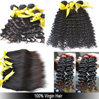Wholesale A A Peruvian Brazilian Malaysian European Russian Eurasian Curly Straight Deep Wave Natural Wave Hair Weave Bundle quot to quot Best Hair