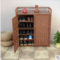 Wholesale New Style Straw Rattan Shoebox Simple Cabinets Double door Weave Overall Shoebox