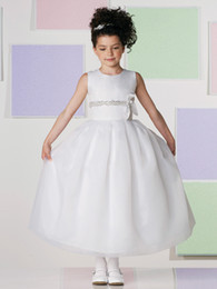 Wholesale White Holy Girl Wedding First Communion Organza Sequins Bow Formal Party Dress Flower Girl Dress