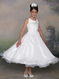 Wholesale White Holy Girl Wedding First Communion Organza Pleated Crystals beaded Formal Party Dress Flower Girl Dress