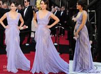 Floor-Length A-Line Zipper Pageant Dresses Sexy New Mila Kunis 83th Oscar Square Purple Red Carpet Lace Celebrity dresses Formal Gown