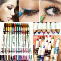 Wholesale 24pcs Colors Waterproof Plastic Glitter Emerald Eyeliner Lipliner Lip Eye Liner Pencil MakeUp CWYE0379
