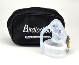 El último diseño de Clear Birdlocked Pico Masaje Picos de silicona Bondage Macho Cage Castidad Fijo SM Fetiche Sexo Juguete A128-1