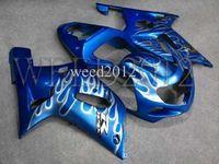 body kit - GSXR600 GSXR750 blue white flames Body Kit Fairing for Suzuki GSXR GSXR750 GSX R K1 Customize