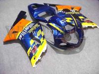 Wholesale GSXR600 GSXR750 Telefonica yellow blue Body Kit Fairing for Suzuki GSXR GSXR750 GSX R K1 Cust