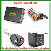 Wholesale GSM GPS Remote control Car GPS Tracker TK106B for Vehicle Positioning Security Monitoring Surveillance with Camera microphone with