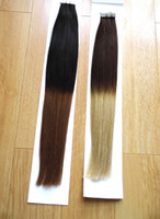 Indian Hair glue in hair extensions - 18inch inch g indian remy GLUE SKIN PU TAPE IN ombre two tone dip dye T color hair extensions STOCK
