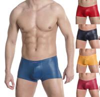 80% Polyamid + 20% Elastine Boxers Sexy 10PCS Lot New Man Mens Sexy Underwear Boxer Brief Briefs Boxers Low Rise Bulge Pouch Faux Leather Trunks Underpants Bottoms Shorts M L XL