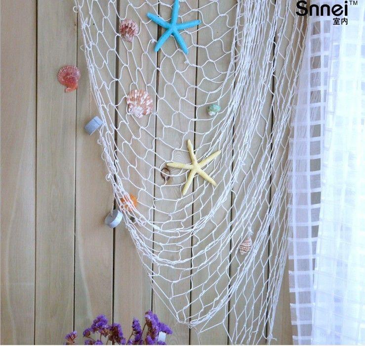 2 4 m fishing nets mediterranean style home decor bar for Fish netting decor
