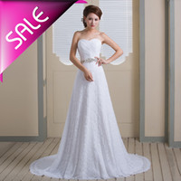 A-Line Model Pictures Sweetheart Real Model Sweetheart Neckline With Crystal Waistband Stock Sale 2014 Lace Wedding Dresses Bridal Party Gown AB901