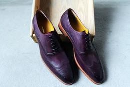 Men Dress shoes Men's shoes Custom Handmade shoes Genuine calf leather oxford shoes wingtip brogue shoes color purple HD-150