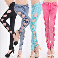 Wholesale A393 summer women new fashion candy color sexy low waist denim cotton side bow hollow out pencil skinny jeans capris S M L drop ship