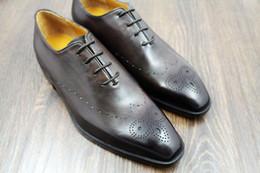 Men dress shoes men's shoes custom handmade shoes genuine calf leather oxford shoes wingtip brogue shoes HD-151