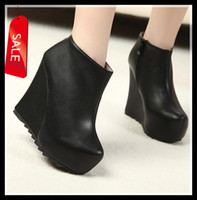 Wholesale 2013 Newest Black Add Plush Keep Warm Anti Skid Serrated Rubber Sole High Patform Wedge Heel Ankle Boots Size to