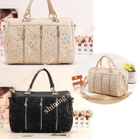 Wholesale Fashiom Women s Handbag Retro Lace Bags Oblique Carry Casual Big Bag PU Leather