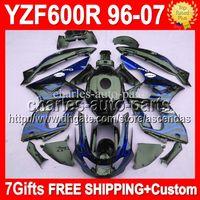 Wholesale 7gifts Tank For YAMAHA Thundercat YZF600R Blue flames YZF R Q32 YZF R Blue black Fairing