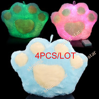 Wholesale LED Light Up Colorful Pillow Bear s Paw Shape plush pillow BLUE HOT