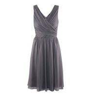 Ruffle Sleeveless V-Neck New Real Sample Knee-length A-line V Neckline Grey Chiffon Custom Made Bridesmaid Dress Gown