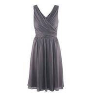 Wholesale Real Sample Knee length A line V Neckline Ruffle Grey Chiffon Custom Made Bridesmaid Dress Gown