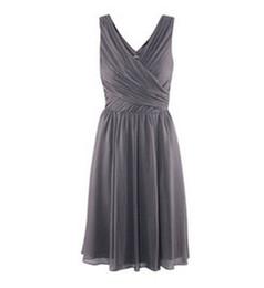 Real Sample Knee-length A-line V Neckline Ruffle Grey Chiffon Custom Made Bridesmaid Dress Gown