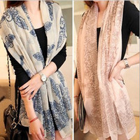 Wholesale Bran New Fashion Hot Temperament Excellent Blue and White Porcelain Style Thin Section the Silk Floss Women Scarf Shawl