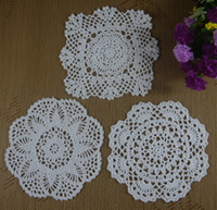 Wholesale cotton lace hand made Crochet Doilies cup mat Natural color Round Square Doily cm