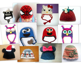 Wholesale New Custom made Winter Baby Hats CROCHET PATTERN Angry Sleepy Owl Spiderman Monkey Elmo Cookie Monster Mickey Minnie Beanie Earflap