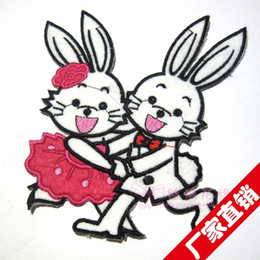 Wholesale Fashion fabric dance rabbit cartoon clothes stickers patch