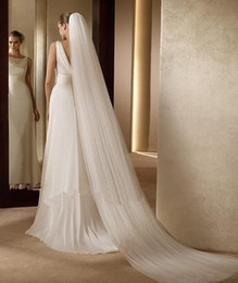 Wholesale New Floor Length White Ivory Beading Wedding Veil Bridal Veils Wedding Accessories With Comb DH0093