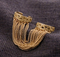double finger ring - R Europe Style gold plated alloy tassels double fingers opened rings