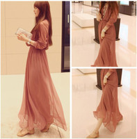 Casual Dresses V_Neck Ankle Length New Ladies Fashion Boho Dress Sexy Chiffon Pleated Long Sleeves Casual Beach Party Dress Slip Sun Maxi Long Dress Double Layer Free Shipping