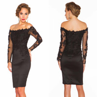 Wholesale New Sexy Black Off the Shoulder Lace Cocktail Dress Long Sleeve Satin Short Party Dresses