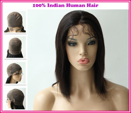 Wholesale 2013New Arrival Various Shipment Rani Hair Indian Remy Human Hair Full lace wig Color B off Black Inch YAKI Straight EA027