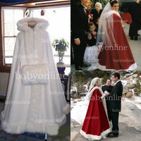 Wholesale 2014 Hot Bridal Cape Ivory Stunning Wedding Cloaks Faux Fur Ankle Length Perfect For Winter Wedding Red and White Bridal Cloaks BO2354