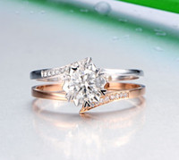 Wholesale 14K GOLD DIAMOND WOMEN RING CERTIFIED NATURAL REAL DIAMOND FACTORY DIRECT DOUBLE COLOR WHITE ROSE GOLD ENGAGEMENT WEDDING JEWELRY XONR03B