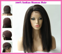Wholesale New Arrival Various Shipment Rani Hair Indian Remy Human Hair Glueless Full lace wig Color B off Black Inch Kinky Straight EB031