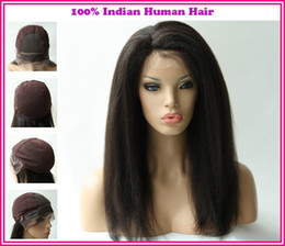 Wholesale 2013New Arrival Various Shipment Rani Hair Indian Remy Human Hair Glueless Full lace wig Color B off Black Inch Kinky Straight EB031