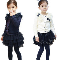 Wholesale Girls bow Coats autumn lace new style tops Cardigan Children s Clothing