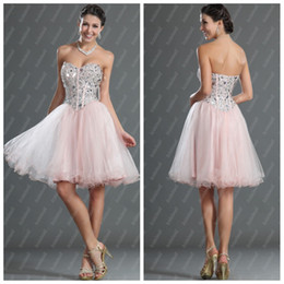 Wholesale Nice Organza Sweetheat Neckline A Line Flower Ruffle Beaded Mini L QZ009 Evening Party Dresses Homecoming Dresses