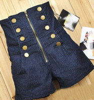 Double Breasted Zipper Vintage High Waist Womens jean shorts...