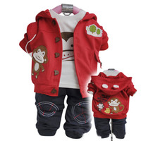 Wholesale Red Children Outfits Three Pieces Long Sleeves Hoodies White T Shirt With Pant Cartoon Monkey Decorate Cheap Kids Clothes High Quality B99