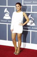 Wholesale Custom Made Simple Unique One Sleeve Ariana Grande White Party Dress rd annual Grammy Awards Red Carpet Dress
