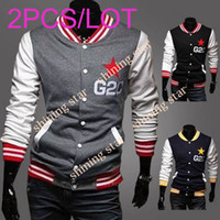 Wholesale Men s Long Sleeve Embroider Slim Fit Stand Collar Baseball College Sports Coat Hoody Jacket Outwear