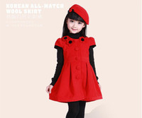 Winter Ball Gown Knee-Length 2013 Autumn Girls Dresses Priness Dresses Cosplay Costume Dresses Dance Party Birthday Dresses Children Clothing Kids Wool Dresses Give Cap