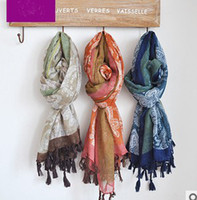 Wholesale New coming lady scarf with tassel Bohemia lady shawls long scarf beach scarf chiffon scarves sarongs