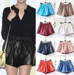 Wholesale Womens Sexy Ladies Elastic Waist Loose Faux Leather Shiny Hot Mini Shorts Pants
