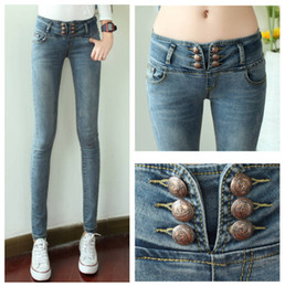 Wholesale Fashion Breasted Jeans Women Slim Pencil Trousers Four Pockets No Zipper Tight Women Jeans G062
