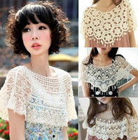 Wholesale Sweet Women s Crochet Capelet Hollowed out Shawl Scarf Lace Collar Cape Tops