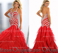 Reference Images chiffon pageant gowns - Custom made red chiffon tiers layered sweep train Pageant dresses sleeveles halter backless sequins beaded mermaid evening prom gowns BO2293